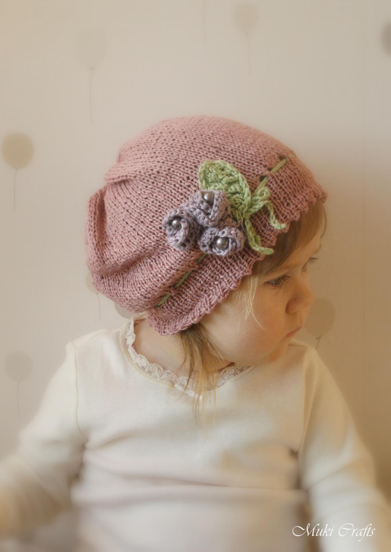 KNITTING PATTERN Slouchy Flower Hat Hannah With Crochet Flowers And Beads (ne...