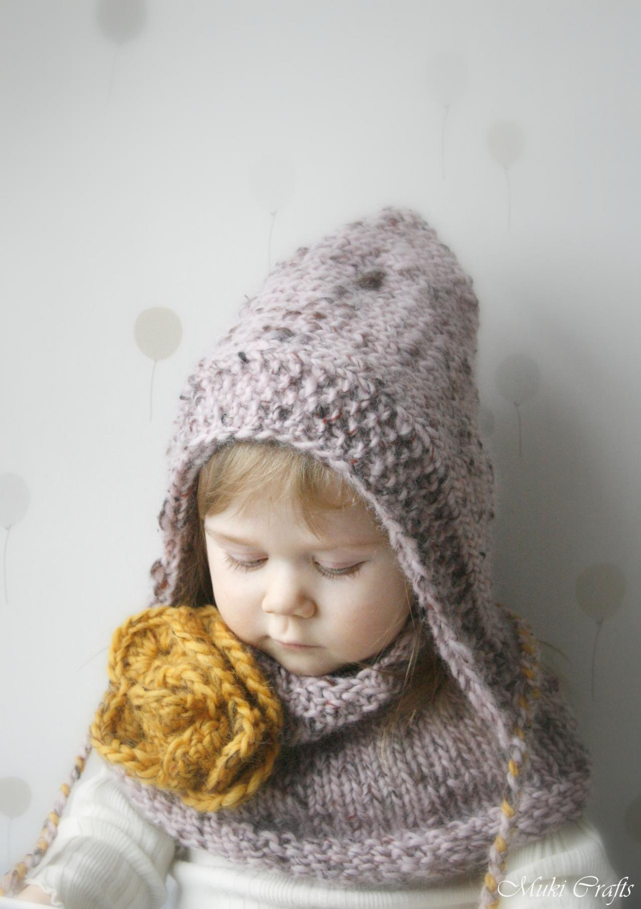 KNITTING PATTERN Hood / Hooded Cowl Set Salome With Crochet Flower (baby, Tod...