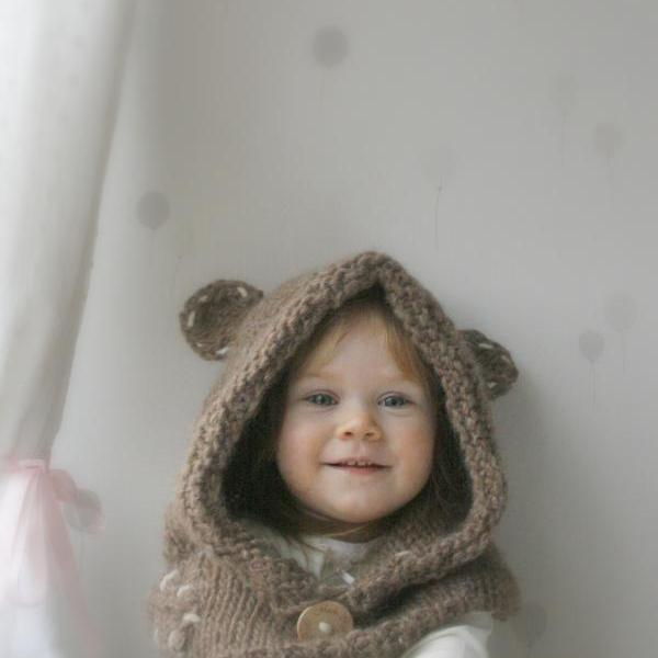 KNITTING PATTERN Hood Cowl Adele With Beads And A Bow (baby, Toddler, Child, ...