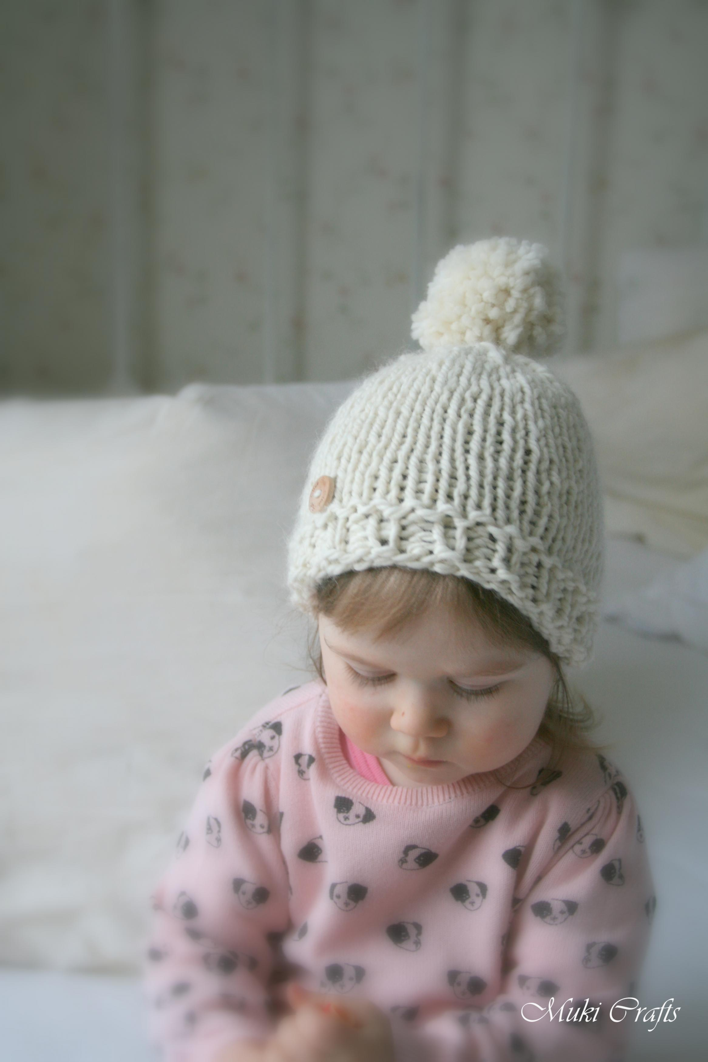 Toddler Beanie Knitting Pattern : KNITTING PATTERN Basic Beanie Pompom Hat Harper (baby, Toddler, Child, Woman ...