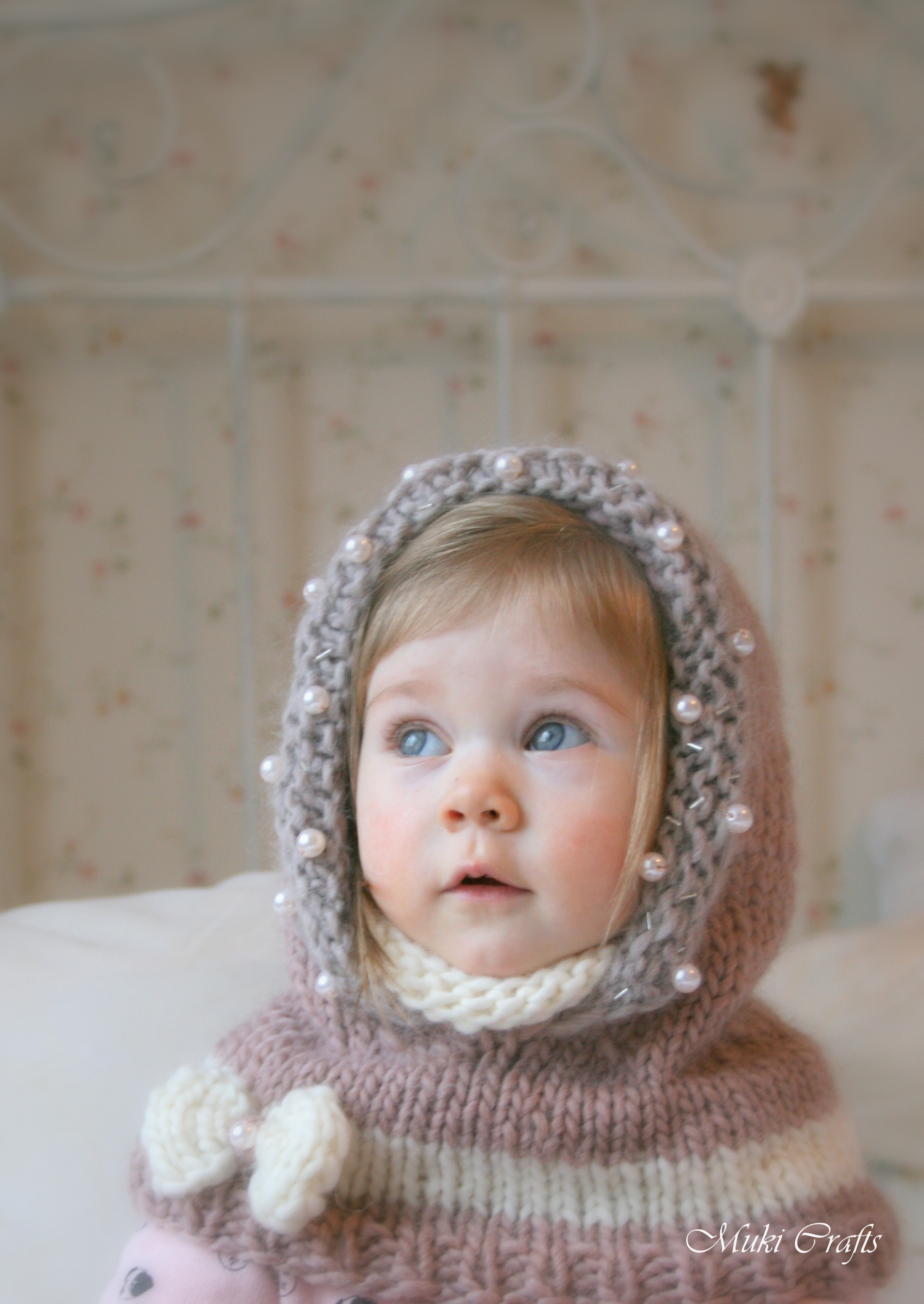 Knitting Pattern For Toddler Cowl : KNITTING PATTERN Hood Cowl Adele With Beads And A Bow ...