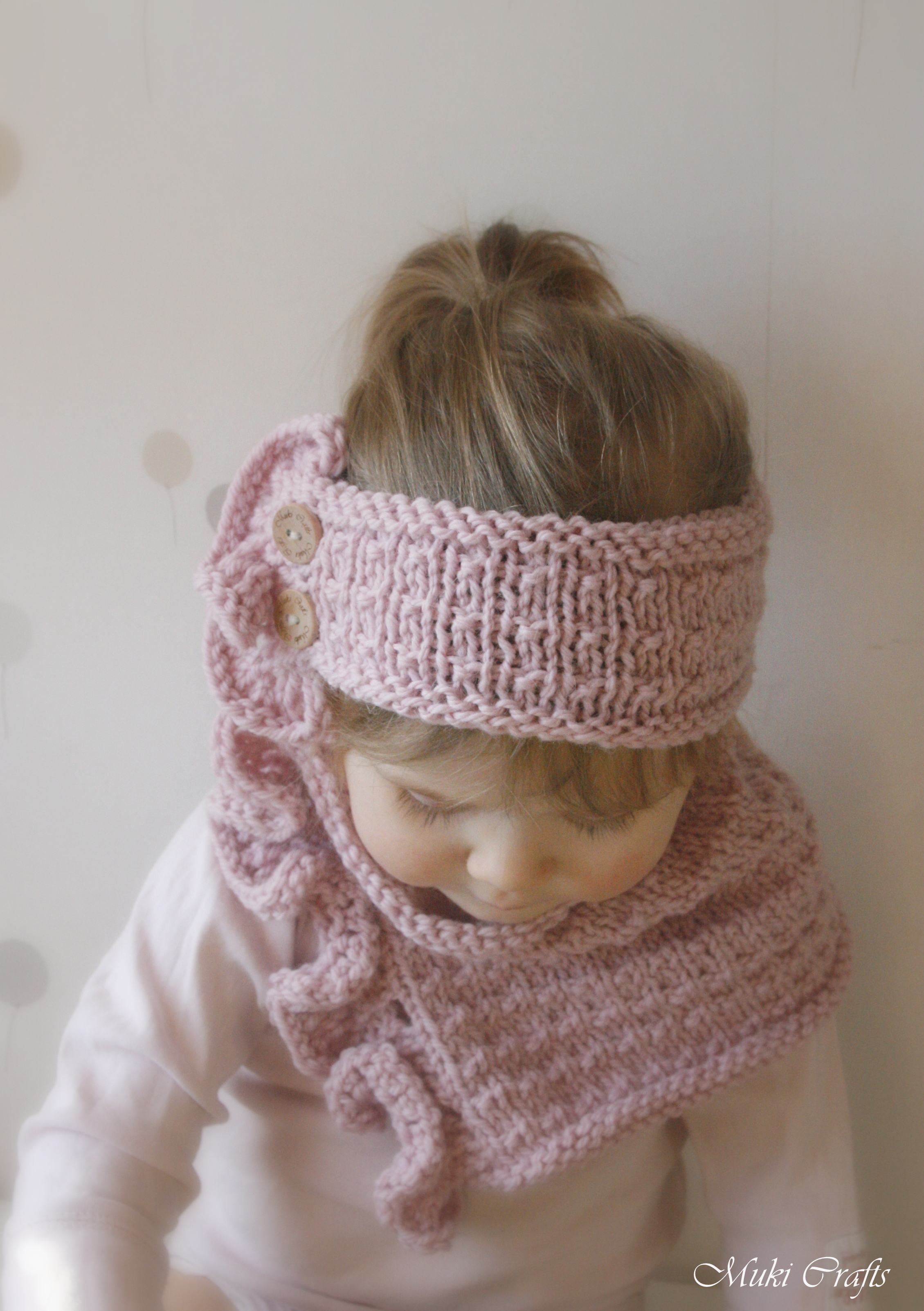 KNITTING PATTERN Headband And Cowl Laura With Ruffles And Buttons (toddler, C...